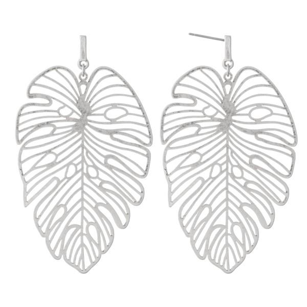 Wholesale metal filigree palm leaf earrings L