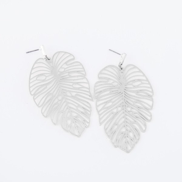 "Metal filigree palm leaf earrings  - Approximately 3"" L"