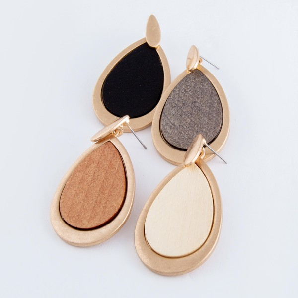 "Metal encased wooden teardrop earrings.  - Approximately 2.25""  L"