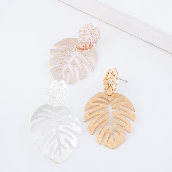 "Hammered Satin Palm Leaf Drop Earrings.  - Approximately 2"" L"