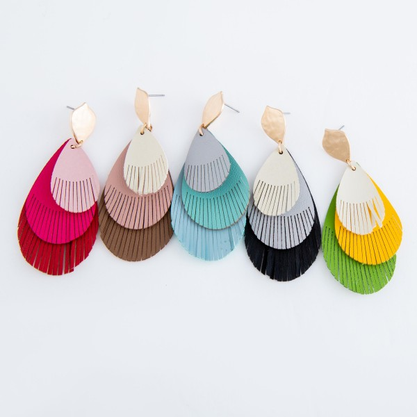 """Three tone faux leather teardrop feather cut out drop earrings.  - Approximately 3"""" L"""