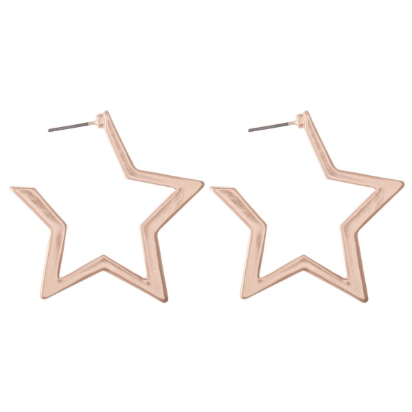 Wholesale sleek star metal hoop earrings L