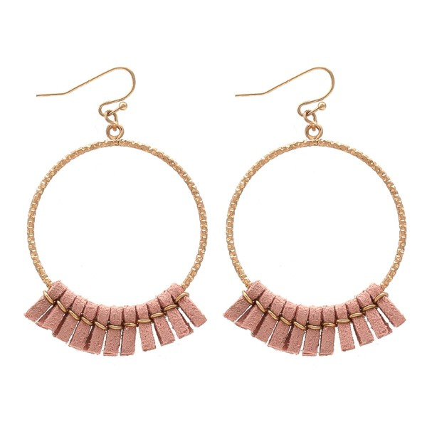"Mini faux leather tassel circle drop earrings.  - Approximately 2"" L"