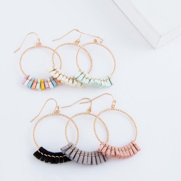 "Mini faux leather tassel circle drop earrings.  - Approximately 2"" L"