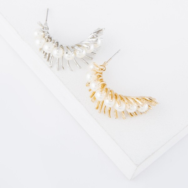 "Ivory Pearl Feather Fringe Drop Earrings.  - Approximately 1"" L"