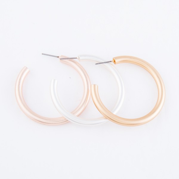 """Hoop Earrings in a Matte Finish.  - Approximately 1.5"""" in diameter - Hoop Thickness 3mm"""
