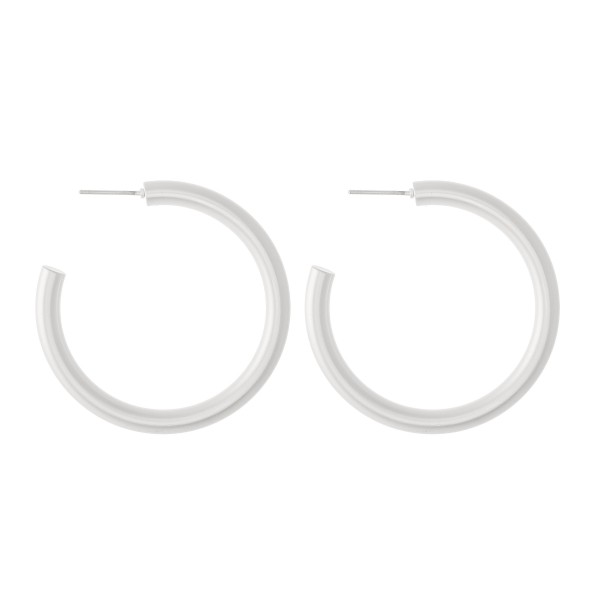 "Hoop Earrings in a Matte Finish.  - Approximately 1.5"" in diameter - Hoop Thickness 3mm"