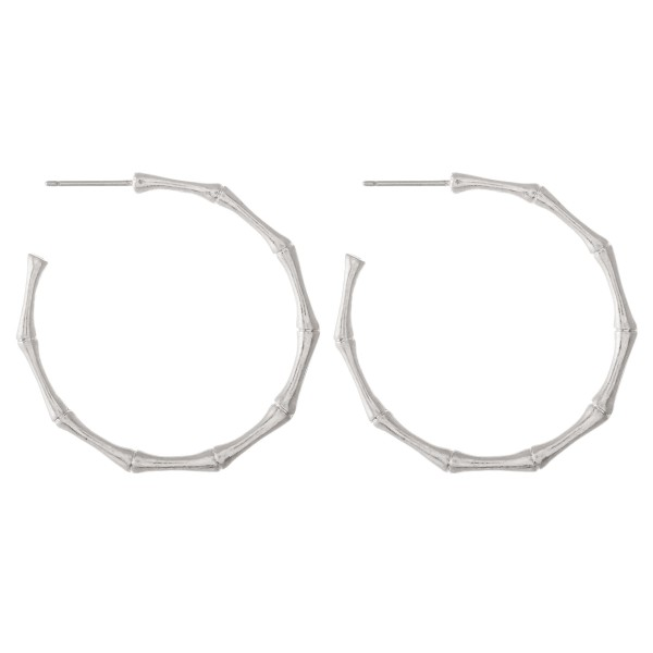 "Metal hoop earrings with bamboo inspired accents  - Approximately 1.5"" L"