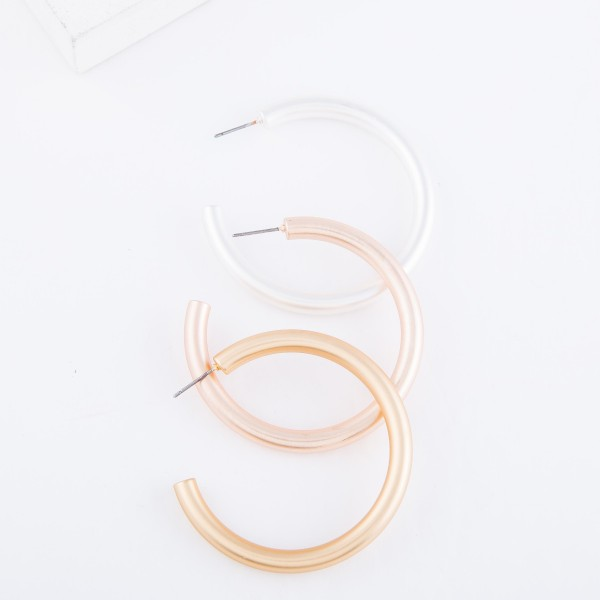 "Hoop Earring in a Matte Finish.  - Approximately 2"" in diameter - Hoop Thickness 3mm"