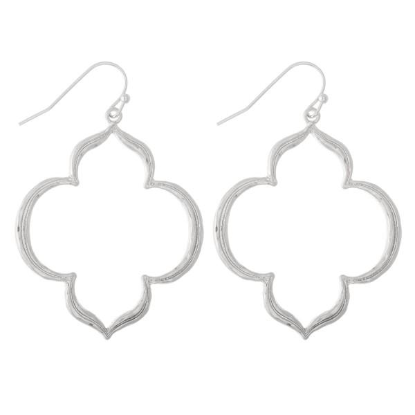 "Quatrefoil shaped metal drop earrings.  - Approximately 2"" L"