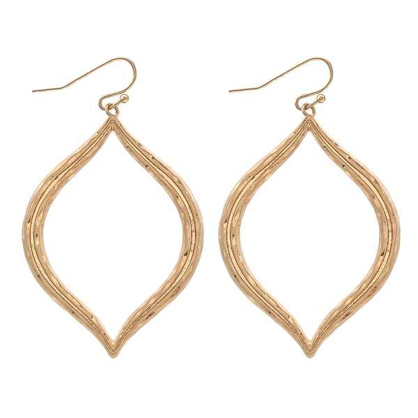 "Textured Metal Lotus Petal Drop Earrings.  - Approximately 2"" L"