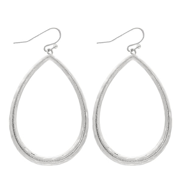 "Textured Metal Teardrop Earrings.  - Approximately 2"" L"