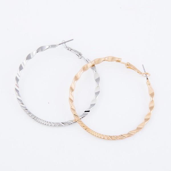"Twisted Textured Hoop Earrings.  - Approximately 2"" in diameter"