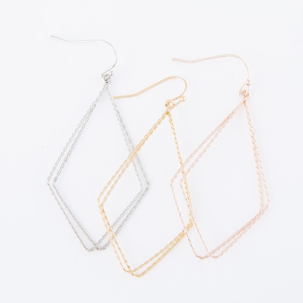 """Lightweight textured geometric earrings.  - Approximately 2.5"""" L"""