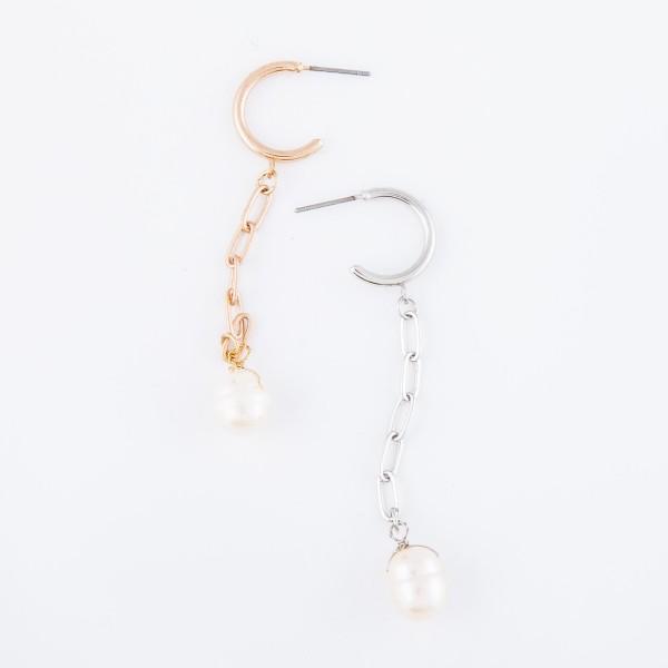 """Freshwater Pearl Chain Link Huggie Hoop Drop Earrings.  - Approximately 2.5"""" L"""