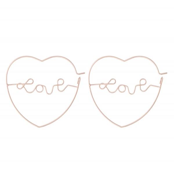 Wholesale brass Metal Wire Love Script Heart Hoop Earrings