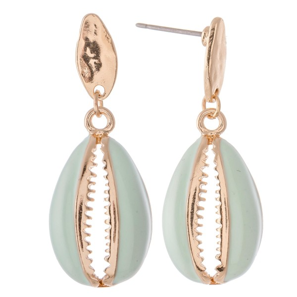 """Seashell drop earrings with colored enamel coating  - Approximately 1.5"""" L"""