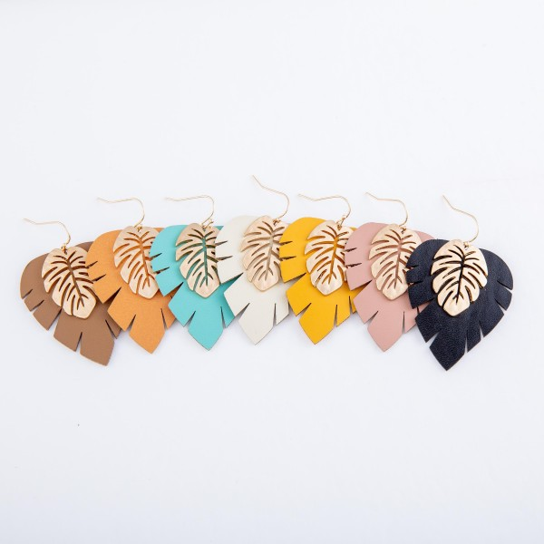 "Faux Leather Palm Leaf Drop Earring Featuring a Gold Palm Leaf.  - Approximately 2"" L"