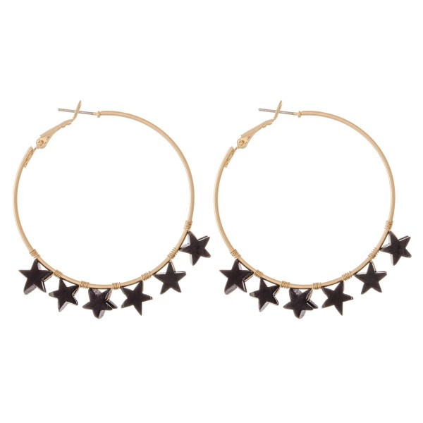 "Gold Hoop Earrings with Wood Star Accents.  - Approximately 1"" in diameter"