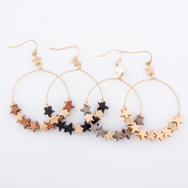 "Wooden Star Beaded Circle Drop Earrings.   - Approximately 2.25"" L"