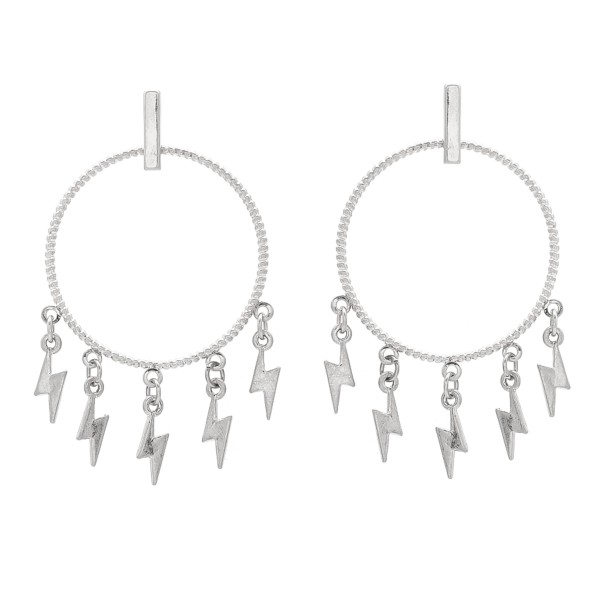 "Circular metal earrings featuring lightening bolt drops. - Approximately 1.5"" in diameter"
