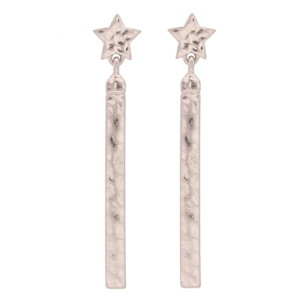 """Star Hammered Bar Drop Earrings.  - Approximately 2"""" L"""
