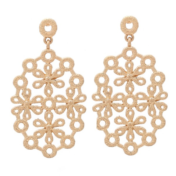 """Metal flower drop earrings.  - Approximately 2.5"""" L"""