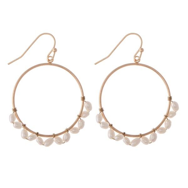 """Wire Wrapped Freshwater Pearl Drop Earrings.  - Approximately 1.5"""" L  - 1.25"""" in diameter"""
