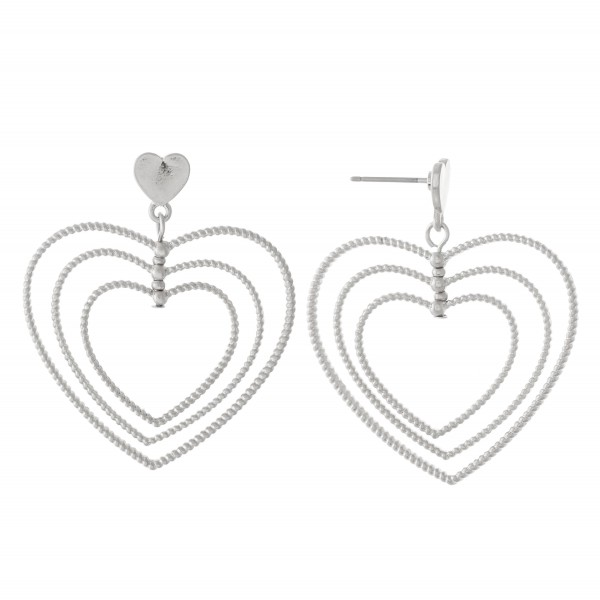 "Textured Metal Layered Heart Drop Earrings.  - Approximately 1.5"" L"