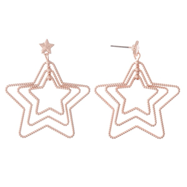 "Textured Metal Layered Star Drop Earrings.  - Approximately 1.5"" L"