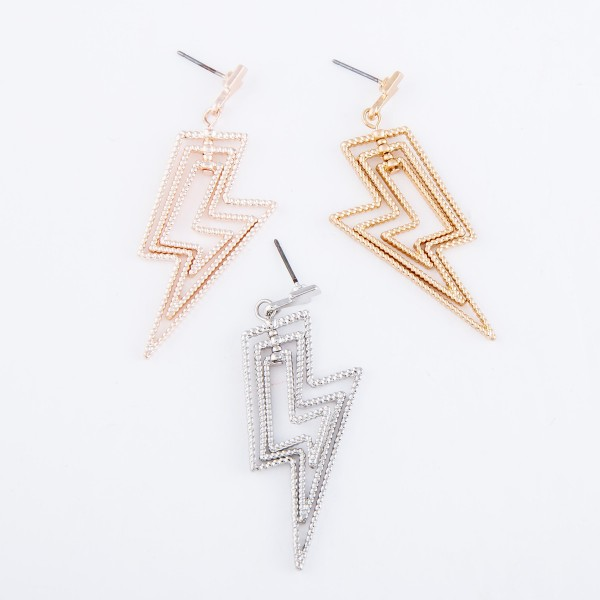 "Textured Metal Layered Lightning Bolt Drop Earrings.  - Approximately 2"" L"