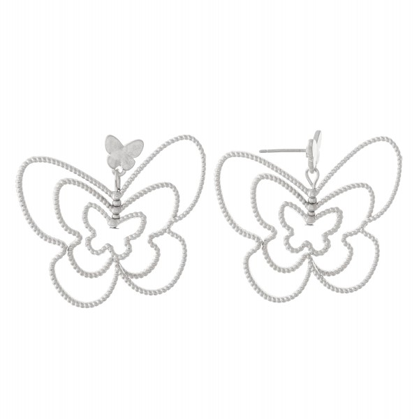 """Textured Metal Layered Butterfly Drop Earrings.  - Approximately 1.25"""" L"""