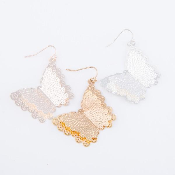 """Tin Brass Metal Butterfly Drop Earrings.  - Approximately 2"""" L"""
