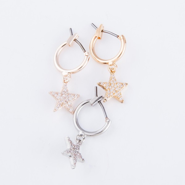 "Brass Metal Huggie Hoop Star Earrings Featuring Rhinestone Details.  - Approximately .5"" L - 1cm in hoop diameter"