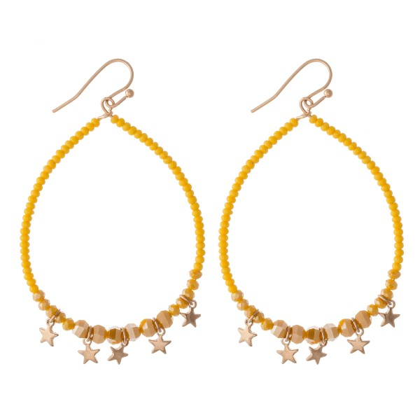 "Seed Beaded Drop Earrings Featuring Gold Star Accents.  - Approximately 2.5"" L  - 2"" in diameter"