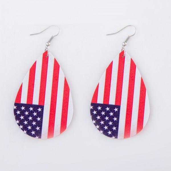 "American Flag Faux Leather Teardrop Earrings.  - Approximately 3"" L"
