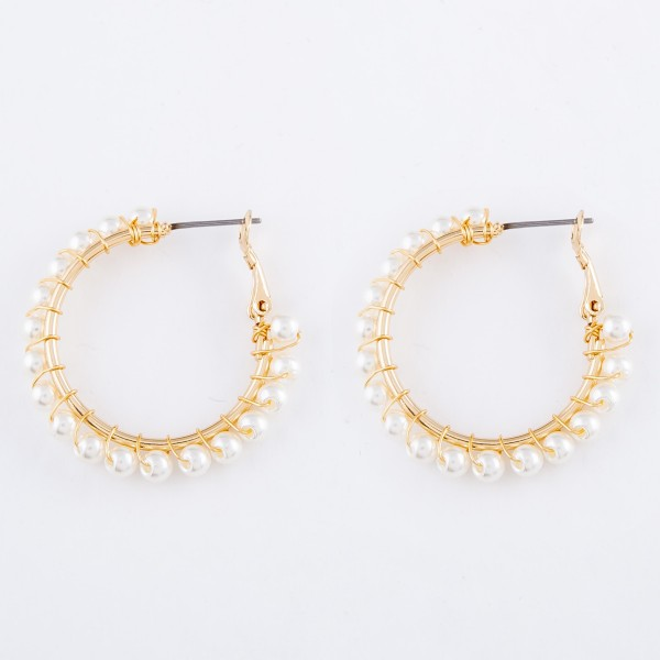 "Wire Wrapped Pearl Beaded Hoop Earrings.  - Approximately 1"" in diameter"