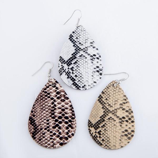 """Faux Leather Snakeskin Teardrop Earrings.  - Approximately 3"""" L"""