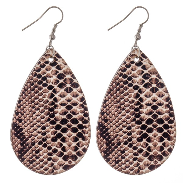 "Faux Leather Snakeskin Teardrop Earrings.  - Approximately 3"" L"