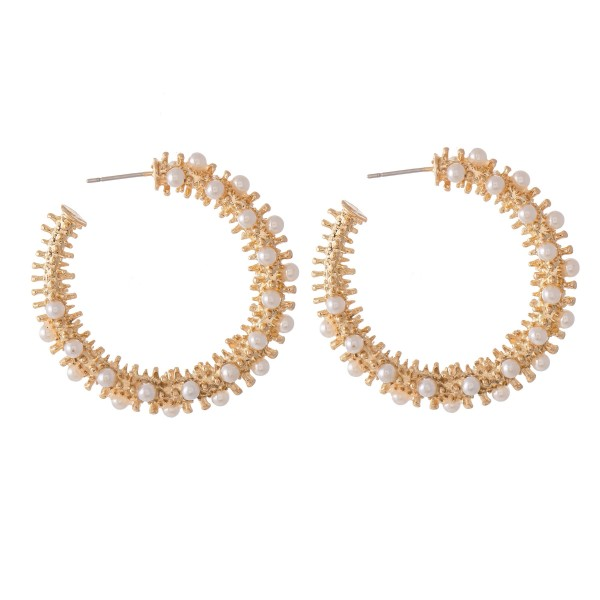 """Ivory Pearl Stud Cluster Hoop Earrings.  - Approximately 1.5"""" in diameter"""