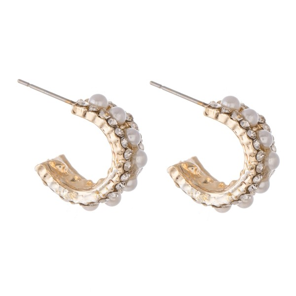 "Short Rhinestone Pearl Beaded Hoop Earrings.  - Approximately .5"" in diameter"