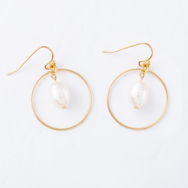 """Freshwater Pearl Nested Drop Earrings in Gold.  - Approximately 1.25"""" L"""