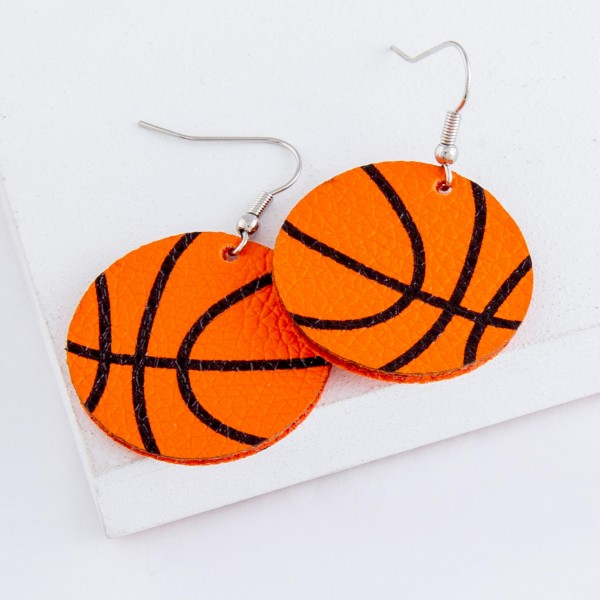 "Basketball faux leather drop earrings.  - Approximately 1.75"" L - 1.25"" in diameter"