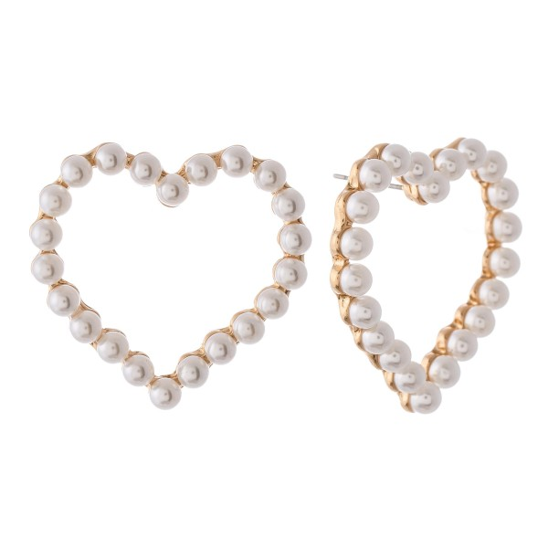 "Pearl beaded oversized heart stud earrings.  - Approximately 1.25"" L"