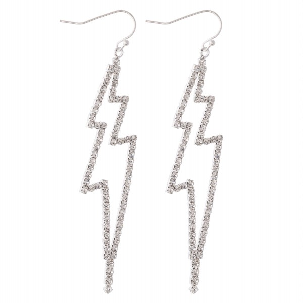 "Silver rhinestone lightning bolt statement drop earrings.  - Approximately 3.5"" L"