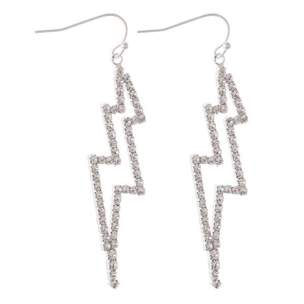 "Silver rhinestone lightning bolt drop earrings.  - Approximately 2.5"" L"