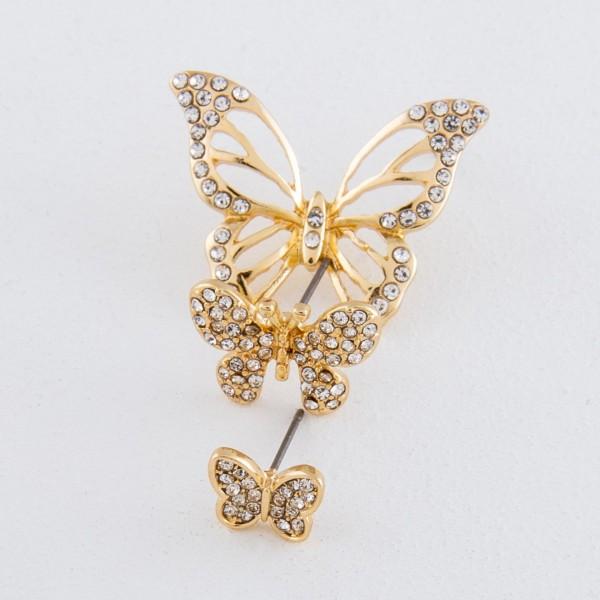 "Gold rhinestone butterfly stud earrings.  - Approximately .75"""