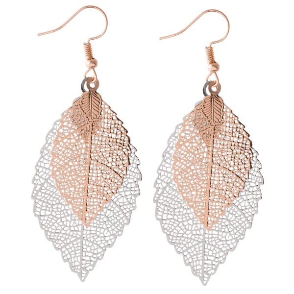 "Two tone centered filigree leaf drop earrings.  - Approximately 2.75"" L"