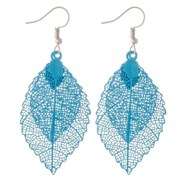 "Centered filigree leaf drop earrings.  - Approximately 2.75"" L"