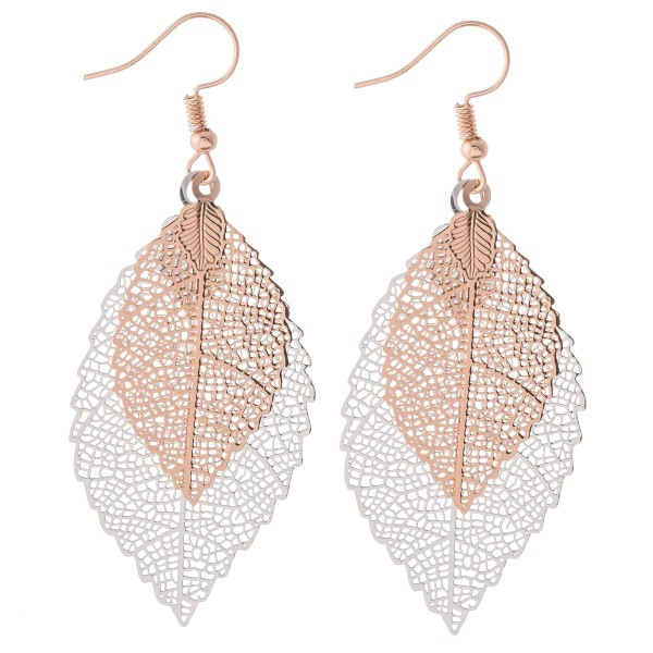 """Two tone centered filigree leaf drop earrings.  - Approximately 2.75"""" L"""